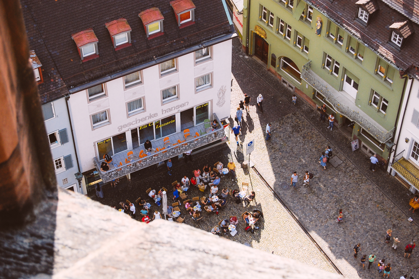 Looking down onto the main square of Freiburg