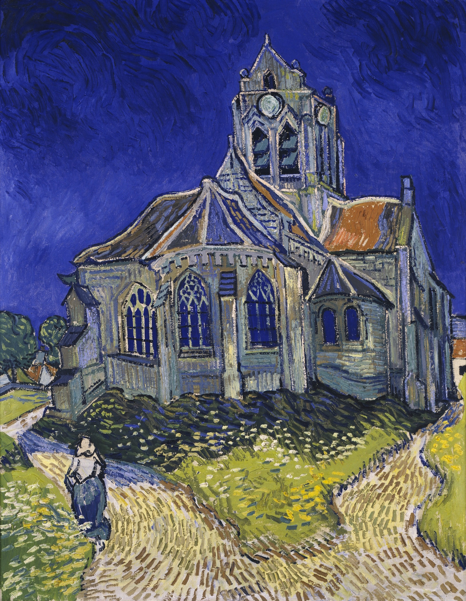 The church in Auvers-sur-Oise, view from the Chevet, Vincent van Gogh (1853–1890). Painted June 1890